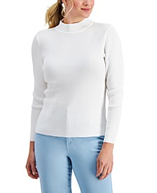 Petite Ribbed Mock Neck Cotton Sweater, Created for Macy's