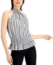 INC Striped Sleeveless Halter Top, Created for Macy's