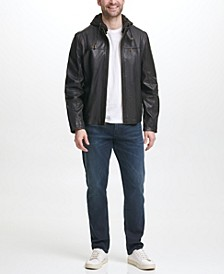 Men's Washed Leather Motorcycle Jacket with Jersey Knit Hood