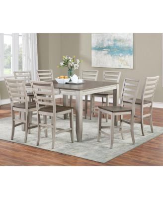 Abacus Counter Height Dining 9-Pc set (Counter Height Table + 8 Side Chairs)