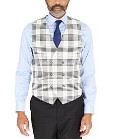 Men's Classic-Fit Black & White Plaid Double-Breasted Vest