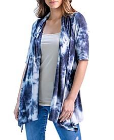 Women's Tie Dye Elbow Sleeve Open Front Cardigan