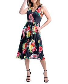 Women's Sleeveless V-Neck Floral Pocket Midi Dress