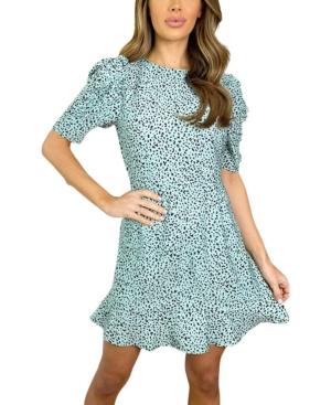 Leopard Print Pleat Sleeve Mini Dress
