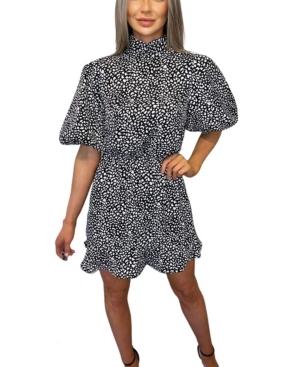Printed Puff Sleeve Skater Dress