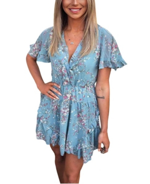 Floral Print V Neck Frill Dress