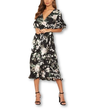 Women's Floral Frill Wrap Midi Dress