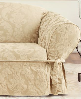 Sure Fit Matelasse Damask 1Piece Sofa Slipcover Slipcovers