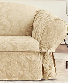 Sure Fit Matelasse Damask 1-Piece Loveseat Slipcover