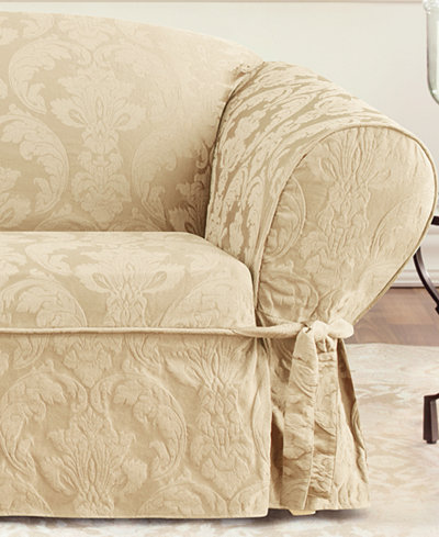 Sure Fit Matelasse Damask 1 Piece Loveseat Slipcover