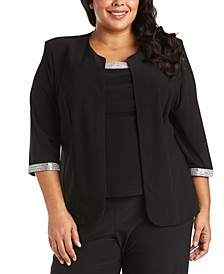 Plus Size 2-Pc. Embellished-Trim Top & Jacket Set