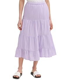 Cotton Pull-On Maxi Skirt