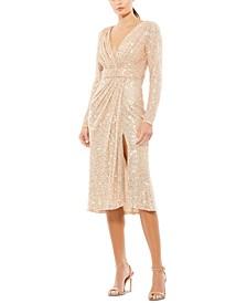 Sequin Side-Slit Dress