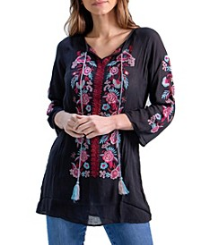 Women's Floral Embroidered Peasant Top