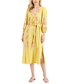 Petite Printed Embroidered Cotton Maxi Dress, Created for Macy's