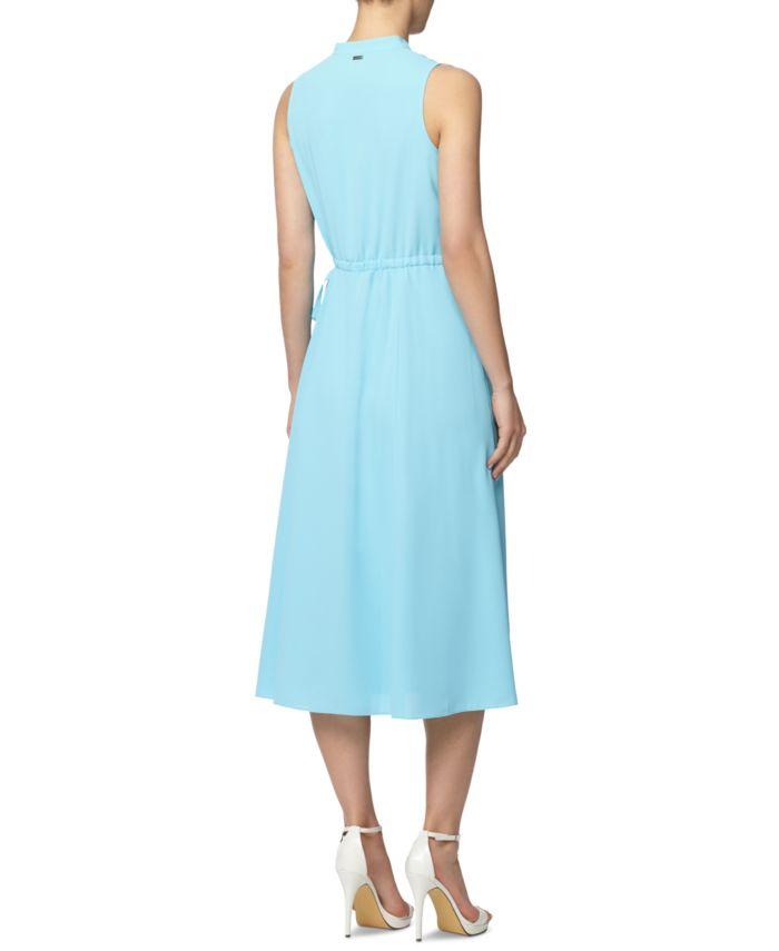 Anne Klein Split-Neck Drawstring Dress & Reviews - Dresses - Women - Macy's