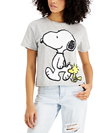 Juniors' Snoopy Cropped T-Shirt