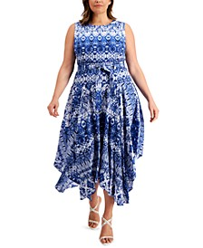 Plus Size Printed Handkerchief-Hem Belted Dress