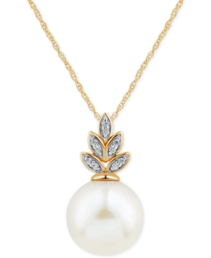 """White Ming Pearl (12mm) & Diamond (1/20 ct. t.w.) 18"""" Pendant Necklace in 14k Gold"""