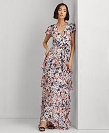 Floral A-Line Flutter Sleeve Dress