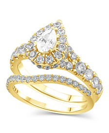 Diamond Pear-Cut Halo Bridal Set (2. ct. t.w.) in 14K White, Yellow or Rose Gold