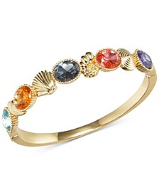 Gold-Tone Multicolor Stone & Shell Bangle Bracelet, Created for Macy's