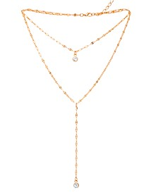"""Clear Cubic Zirconia Double Chain 18"""" Necklace in Fine Gold Plate"""