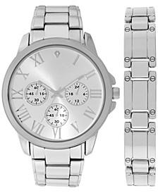 INC Men's Silver-Tone Bracelet Watch 44mm & Bracelet Set, Created for Macy's
