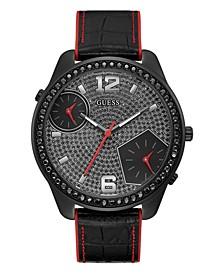 Men's Oversized Dual Time Crystal Black Flex Strap Watch 51mm