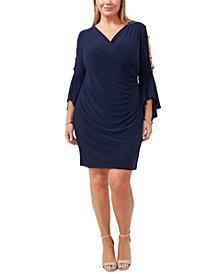 Plus Size Embellished Bell-Sleeve Dress