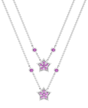 Blue or Pink Sapphire 1/6 ct. t.w. Double Drop Star Necklace in Sterling Silver