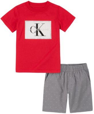 Little Boys Knit Crewneck with Twill Short Set, 2 Piece