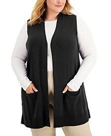 Plus Size Solid Duster Vest, Created for Macy's
