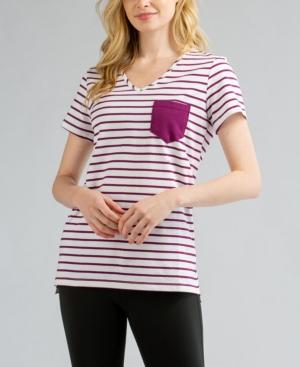 Women's Rose Striped Pocket T-shirt