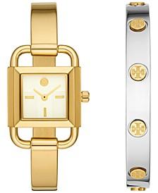 Women's Phipps Gold-Tone Stainless Steel Bracelet Watch 22mm Gift Set