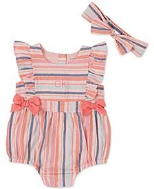 Baby Girls 2-Pc. Cotton Multi-Stripe Bodysuit & Headband Set