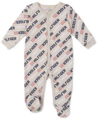 Baby Boys Signature Long-Sleeve Footed Logo Onesie