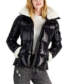 Callie Faux-Sherpa-Trim Down Puffer Coat