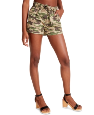 Juniors' Camo-Print Belted Shorts