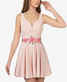 Open Back Appliqué-Waist Dress