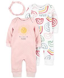 Baby Girls 3-Pc. Jumpsuits & Headwrap Set
