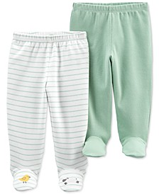 Baby Boys or Girls 2-Pack Cotton Footed Pants