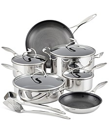 SteelShield C-Series Tri-Ply Clad Nonstick Cookware Plus Bonus Utensil Set, 12-Piece, Silver