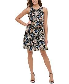 Floral-Chiffon Shift Dress