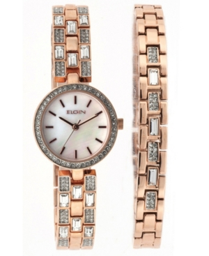 Women's Gold-Tone Analog Strap Watch Baguette and Matching Bracelet Set
