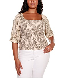 Black Label Plus Size Palm Print Puff Sleeve Smocked Top