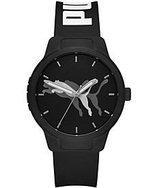 Men's Reset V2 Three-Hand Black Polyurethane Strap Watch 43mm