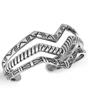 by Carolyn Pollack Sterling Silver Three Row Textured Chevron Cuff Bracelet