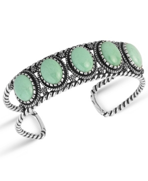 by Carolyn Pollack Green Variscite Gemstone Rope Cuff Bracelet in Sterling Silver