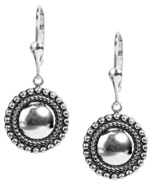 by Carolyn Pollack Sterling Silver Beaded Edge Round Button Dangle Earring